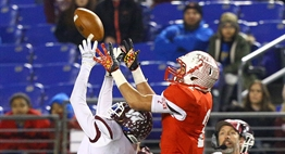 A Havre de Grace receiver and Fort Hill defender go up simultaneously on a pass during the 2015 Class 1A State Finals.