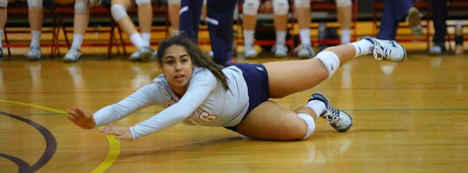 A Northern-Calvert HS player lays out to dig the ball in the 2016 State Volleyball Semifinals.