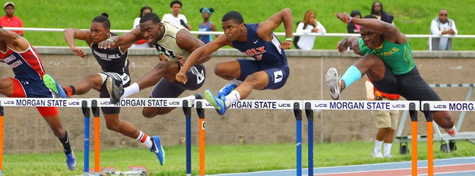 A Boys hurdle race at the 2017 State Track and Field Championships.