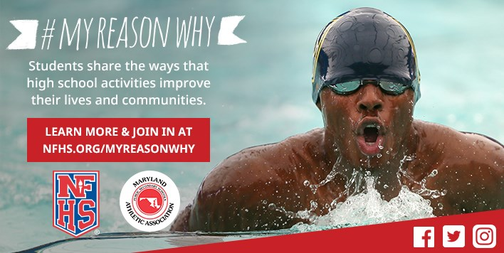 Banner ad for the NFHS #MyReasonWhy campaign with photo of an African-American male swimmer.