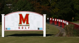 University of Maryland golf sign adjacent to their driving range.