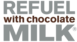 Refuel with chocolate milk logo.