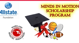"Minds in Motion ""logo"" slide with MPSSAA & Allstate Foundation logos."