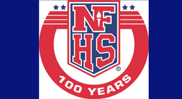 NFHS Centennial logo in red, white, and blue.