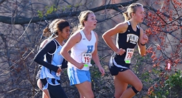 Several female runners power up the hill in the 2015 Class 3A state championship race.