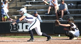 A batter attempts a bunt during the 2018 State Softball Finals.