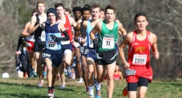 A pack of male runners race at Hereford HS during the 2018 State Championships.