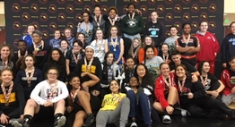 Group photo of the participants in the first Girls Wrestling Invitational.