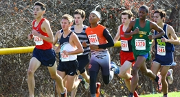 Male cross country runners from Class 4A schools pack together as they approach an early turn at the 2015 State Championships.