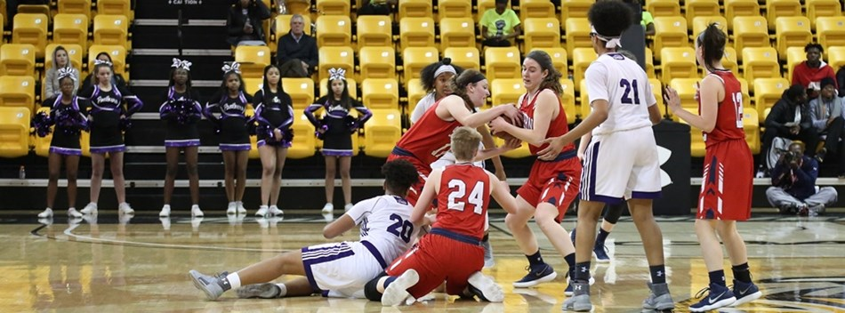 A picture from the Class 1A Girls State Basketball Championship Semifinals.