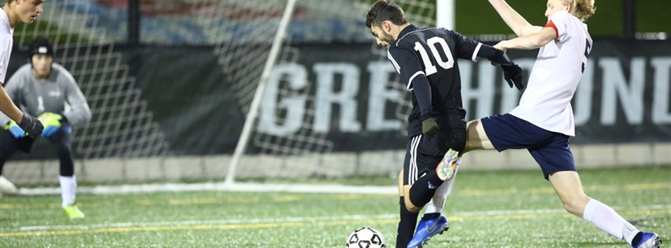 A Whitman attacker shoots on goal against Urbana in the 2018 Class 4A Boys Soccer State Final.