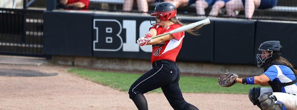 A batter follows through on her swing at the 2019 Class 1A State Softball Final.