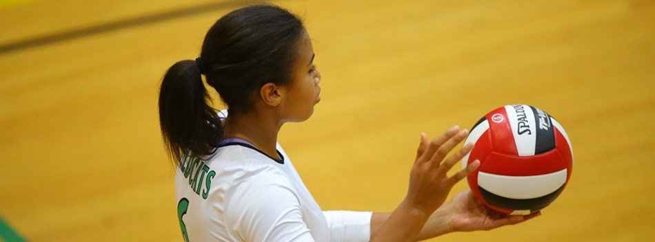 An female Arundel HS player prepares to serve in the 2016 State Volleyball Semifinals.