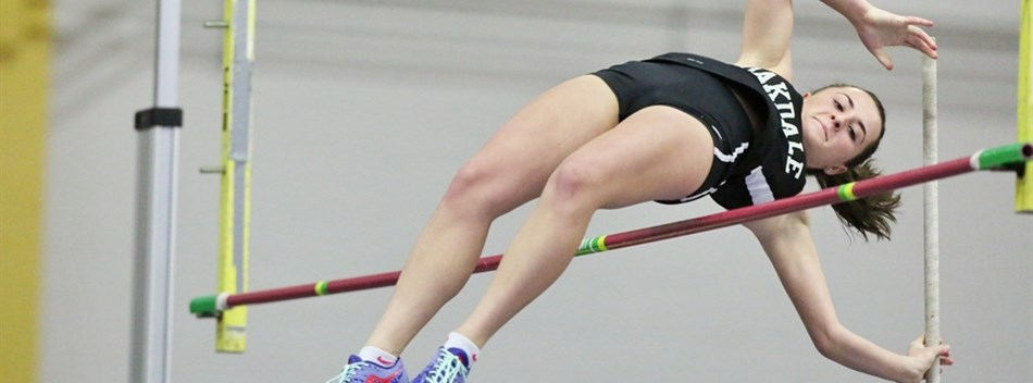 A female pole vaulter clears the bar during the 2018 State Indoor Track & Field Championships.