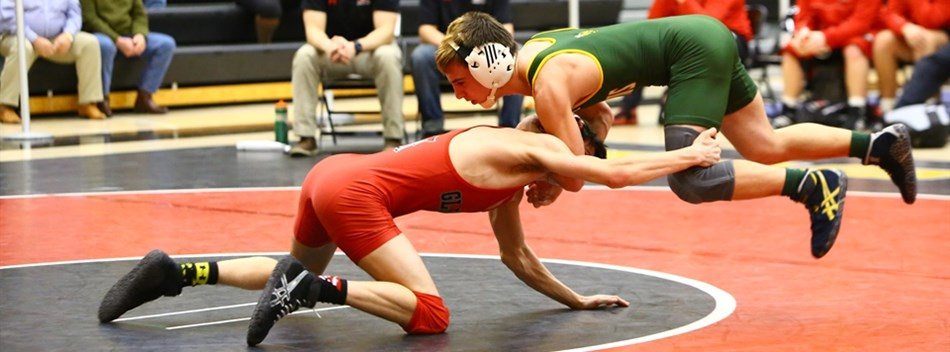 Two wrestlers battle to gain the upper hand during the 2017 State Dual Meet Tournament.